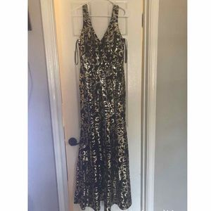 Black and Gold Sequin Prom Dress
